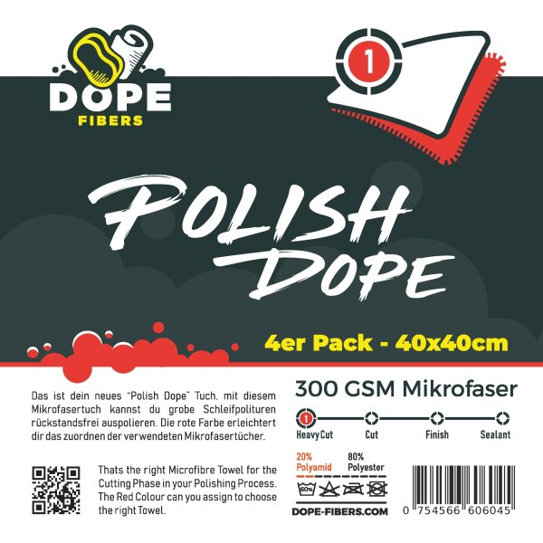 DopeFibers - PolishDope Heavy Cut - 4er Pack rot